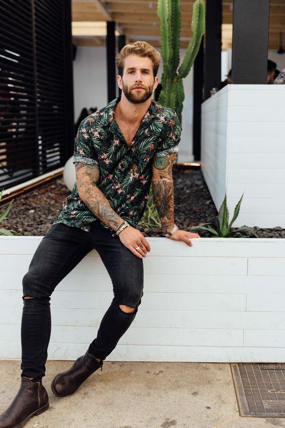 camisa-resort-masculina-calça-preta-ragada