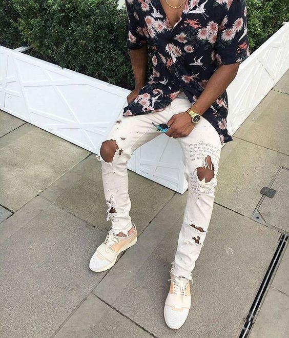 camisa-masculina-estampa-resort-calça-destroyer