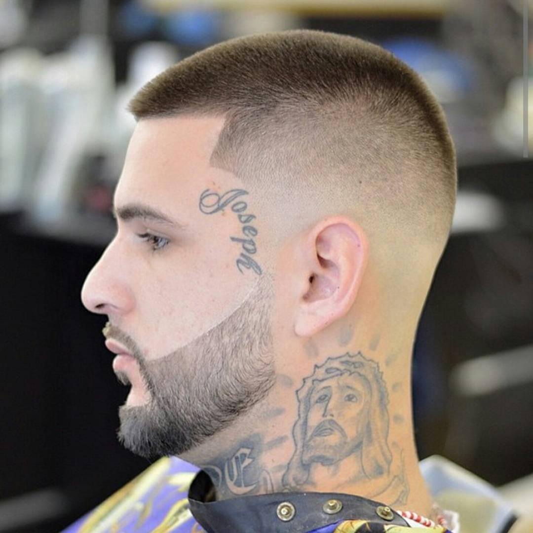 corte militar com barba desenhada