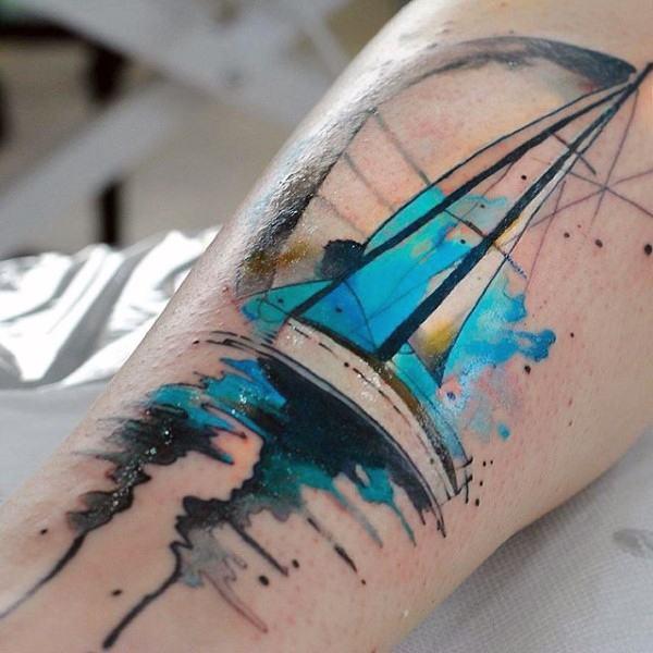 tatuagem aquarela masculino no braço