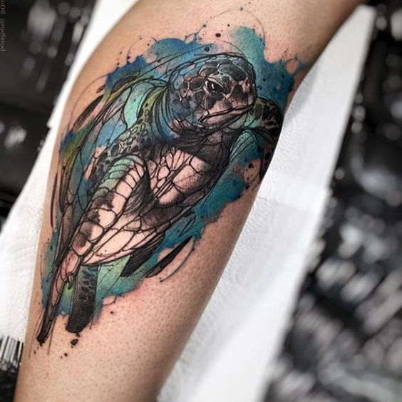 tatuagem animal aquarela no braço