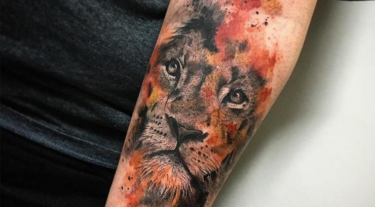 tatuagem de animal aquarela